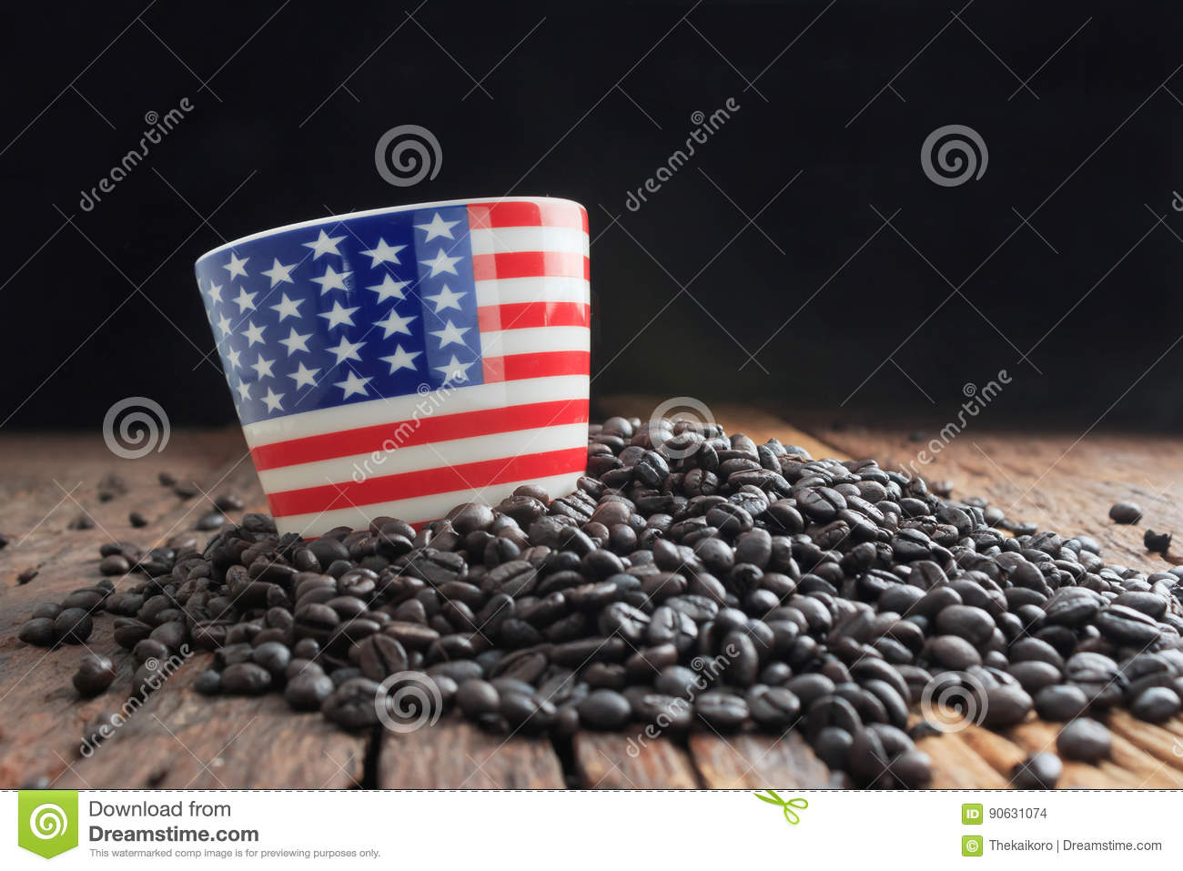 Close up shot of america flag pattern ceramic cup on pile of dar
