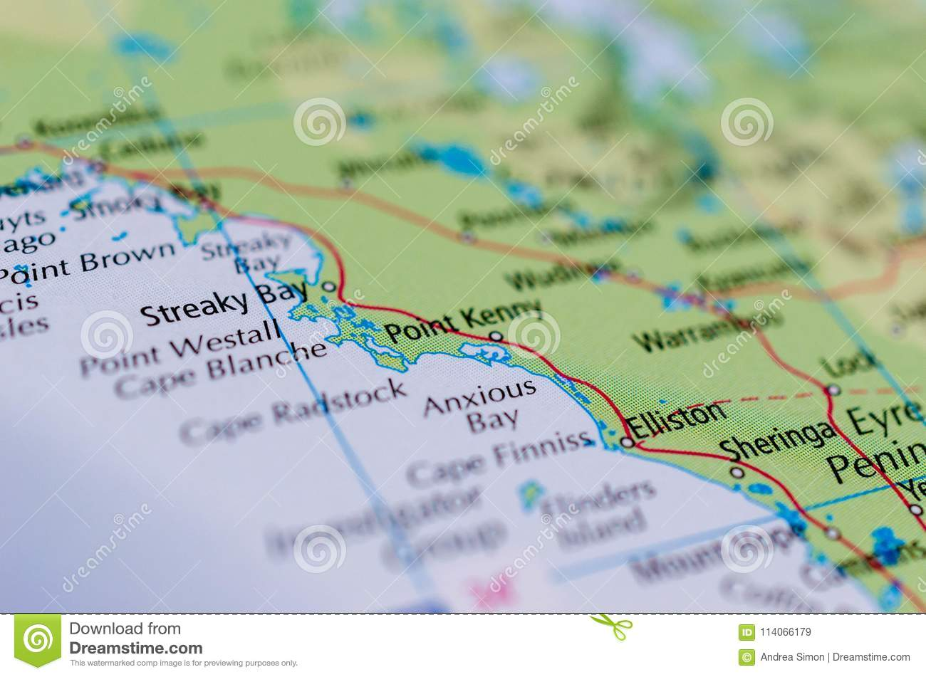 Australia West Coast Map.Anxious Bay On Map Stock Image Image Of Located Paper 114066179