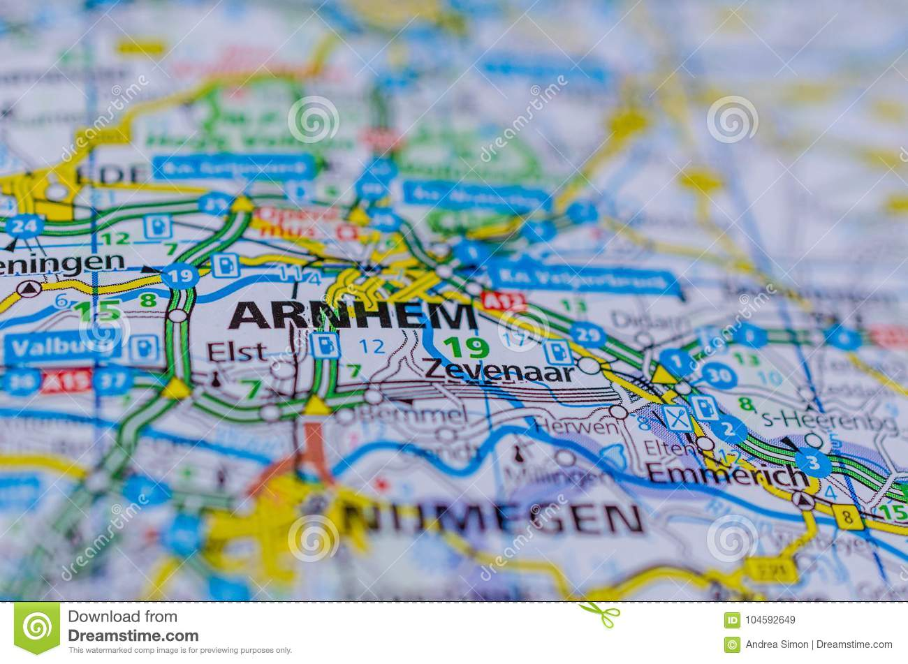 Arnhem on map stock image Image of cosmopolitan coordinates