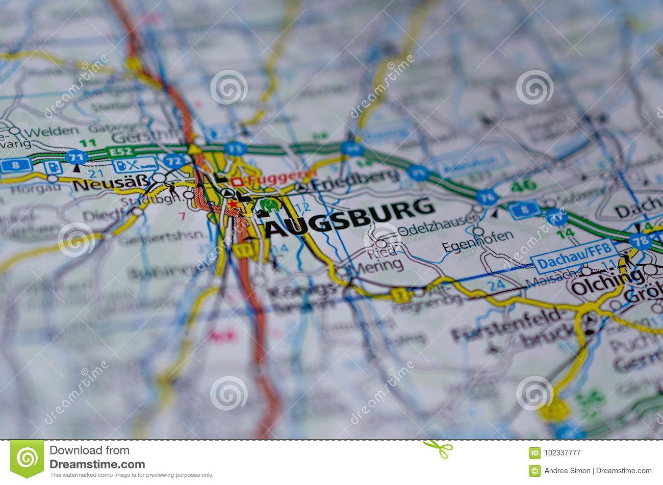 Augsburg on map stock image Image of shot atlas maps 102337777