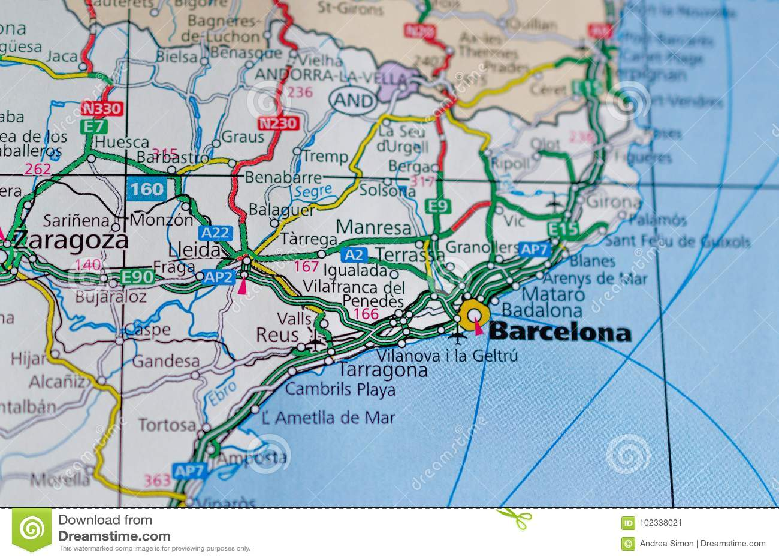 Barcelona on map