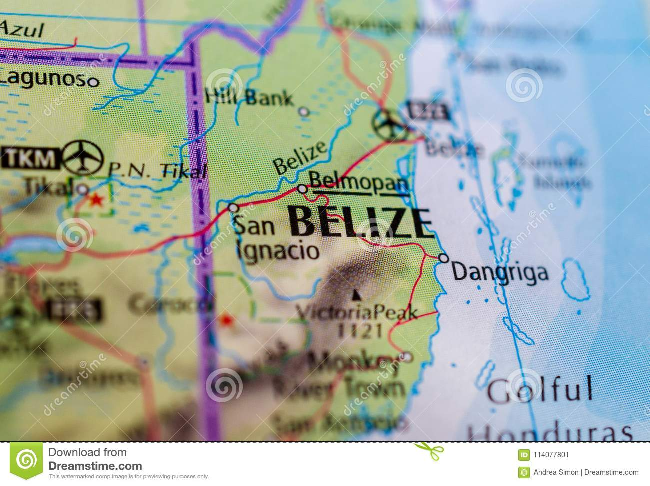Belize on map stock image. Image of journey, america - 114077801