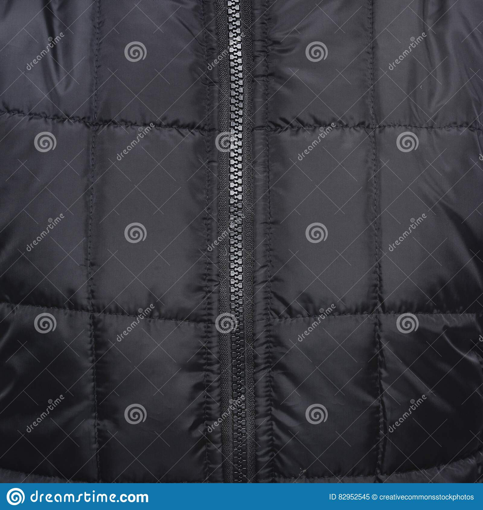 Download Close Up Shot Of Black Zip Up Quilted Textile Stock Image - Image of photo, black: 82952545
