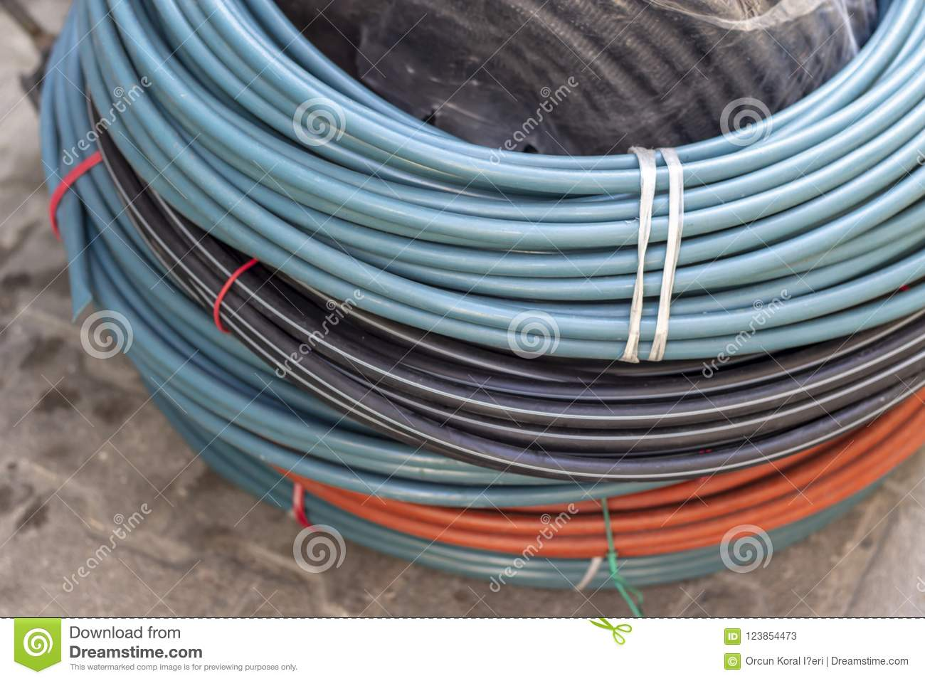 Close-up Shot For Blue, Black And Orange Colored Cable Wires Stock ...