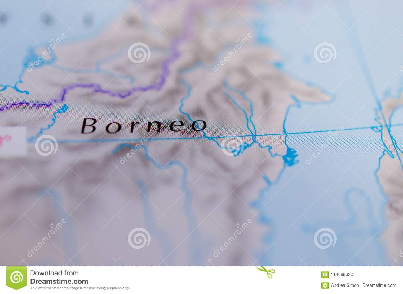 Borneo On Map Stock Image Image Of Kalimantan Directions 114065323