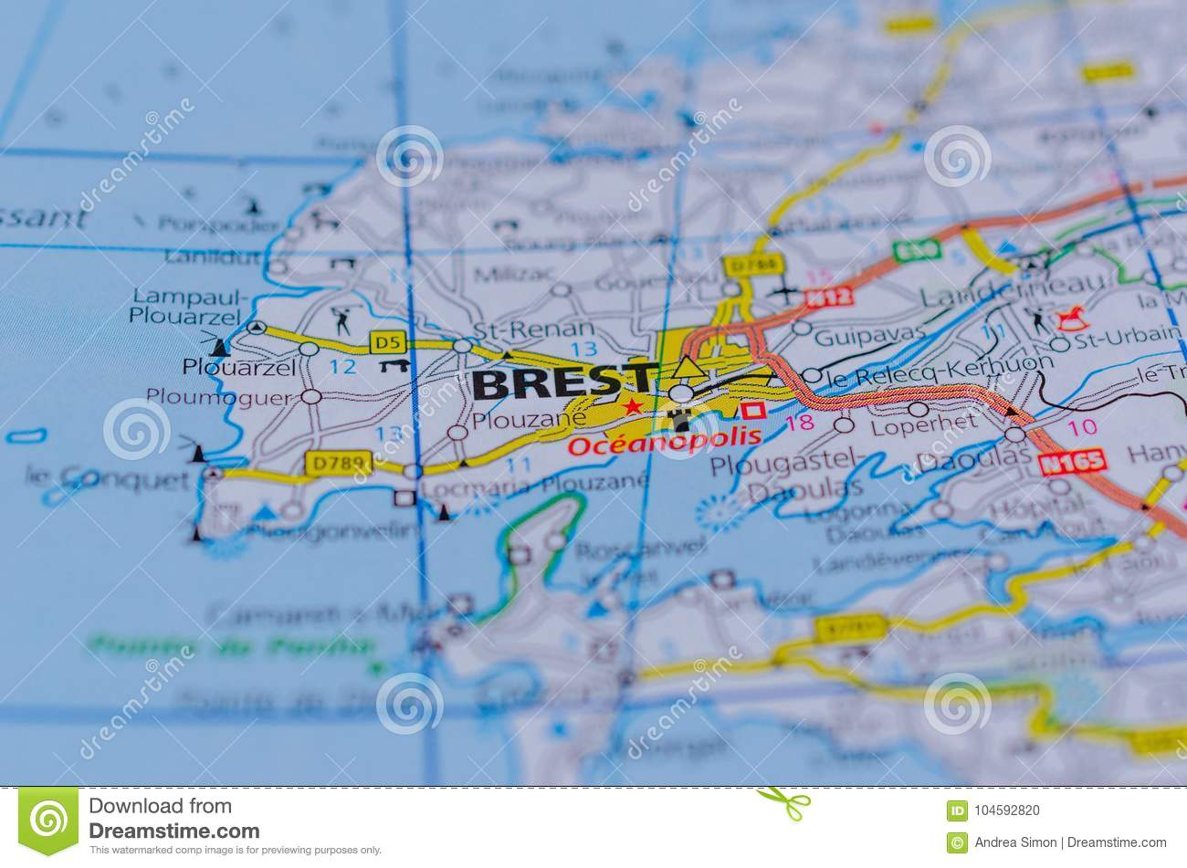 Brest France On Map Editorial Image Image Of Educate 104592820