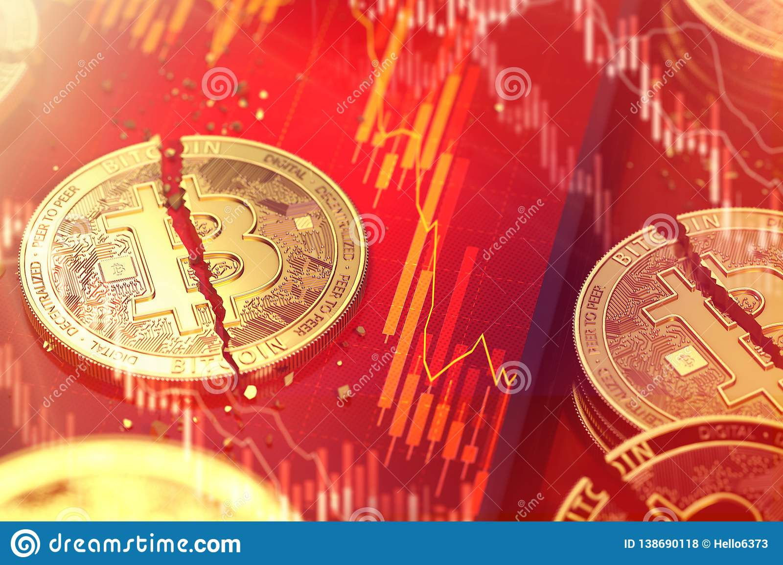 Close-up shot of Broken bitcoin split in two pieces laying on a smartphone screen with stock-market diagram in red color. 3D