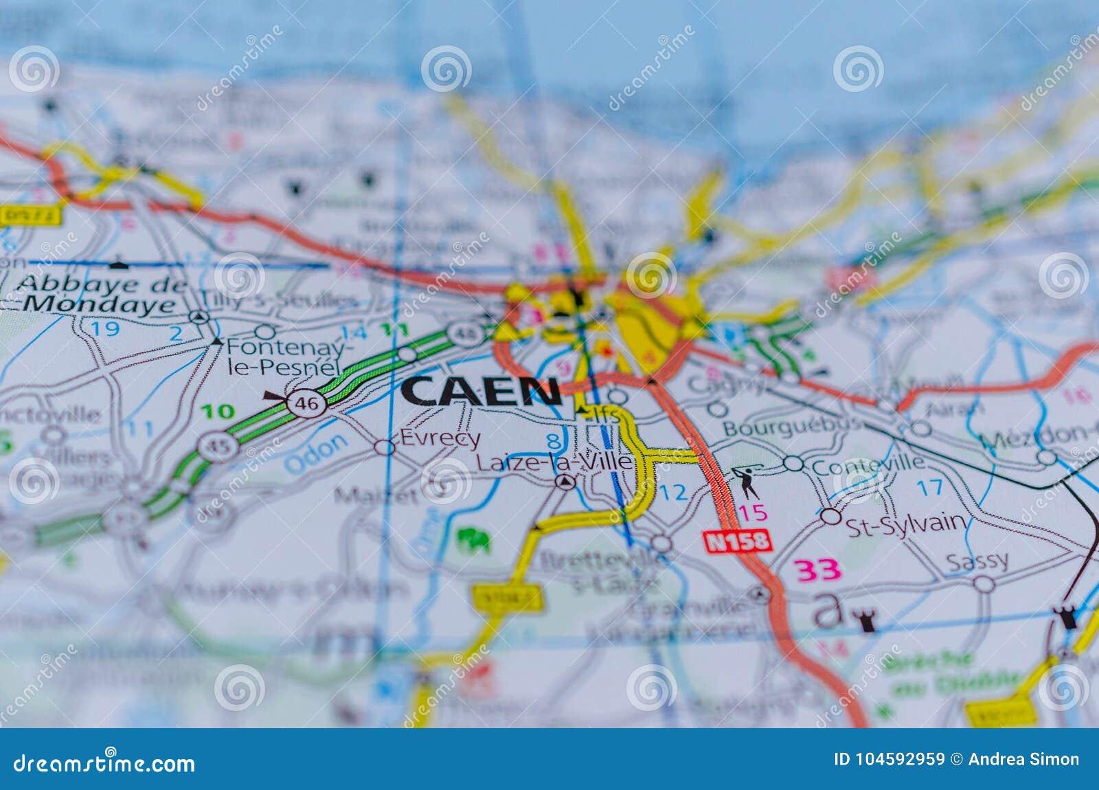 Calvados France Map.Caen On Map Stock Image Image Of Frances Navigation 104592959