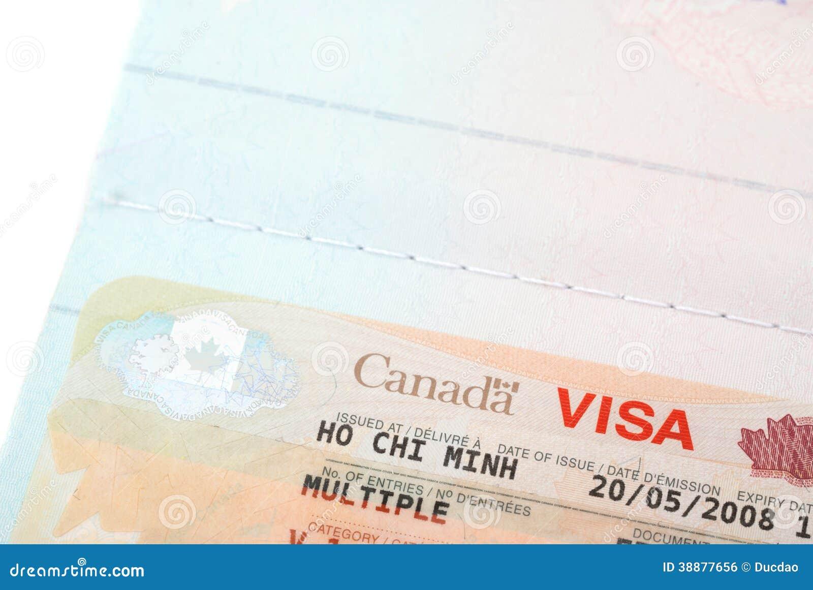 Close Up Shot Of Canadian Visa Stamp Stock Photo - Image of airport