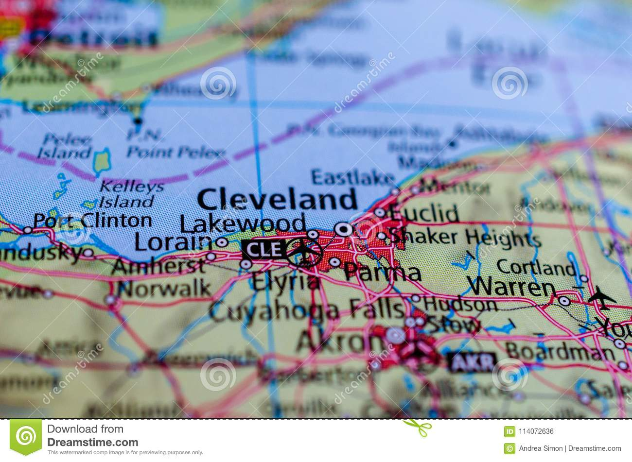 Cleveland On Map Stock Photo Image Of City Located 114072636