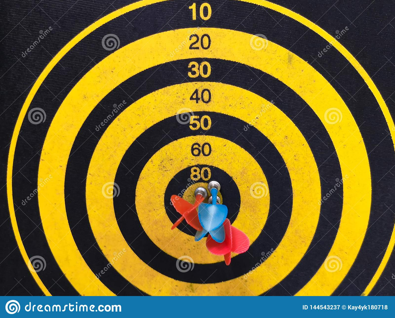 Close Up Shot Of A Dart Board  Darts Arrow Missing The