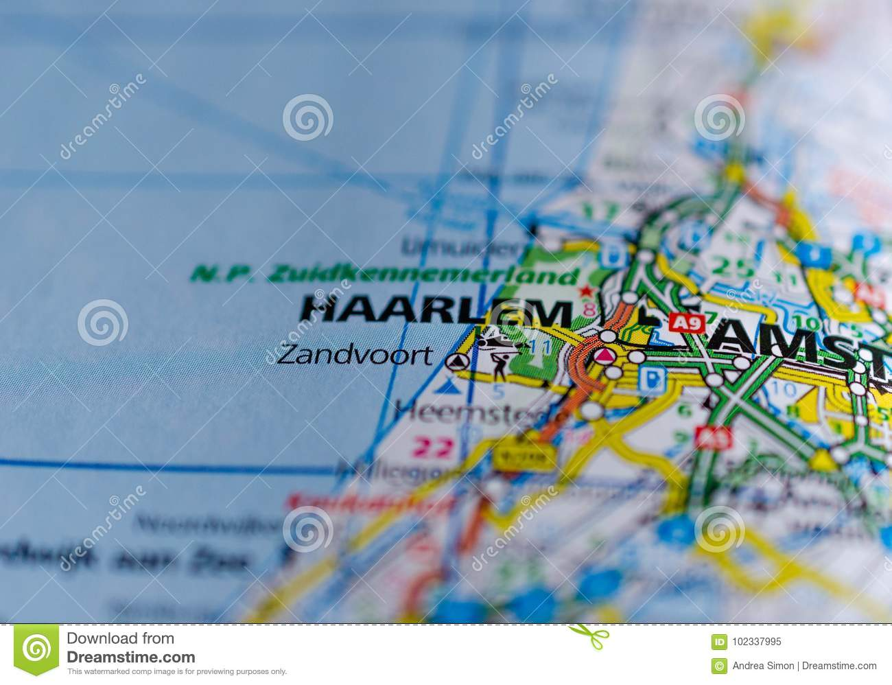 Haarlem on map stock image. Image of close, amsterdam - 102337995