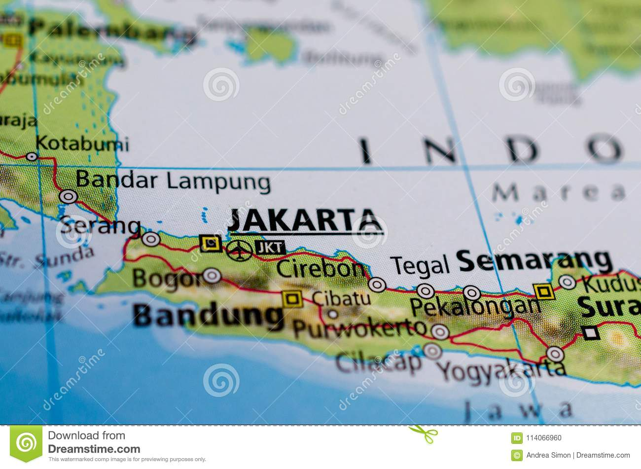 Jakarta On Map Stock Photo Image Of Islands Maps Indies 114066960