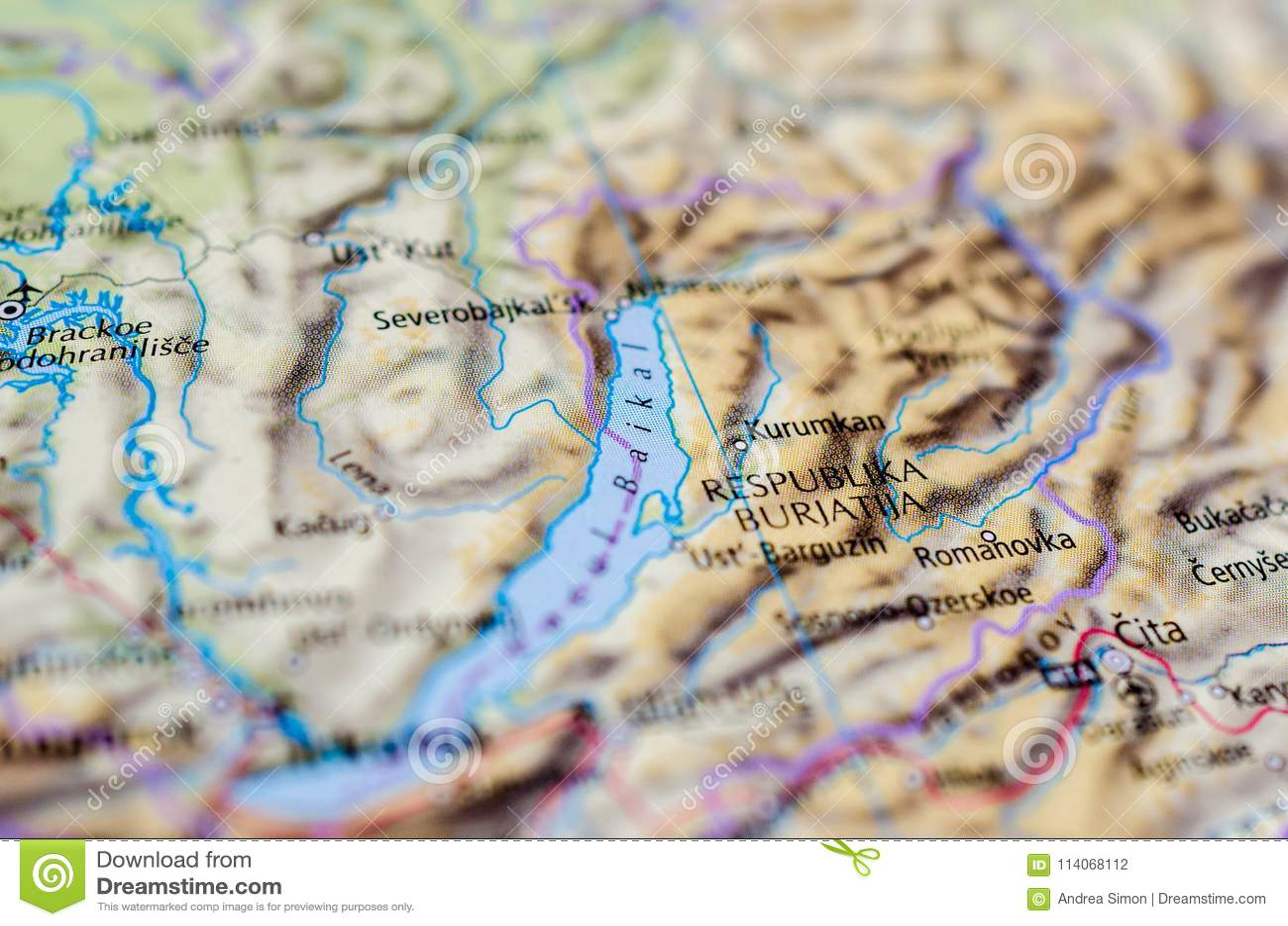 Cartina Siberia Russia.Lake Baikal On Map Stock Photo Image Of Paper Continent 114068112