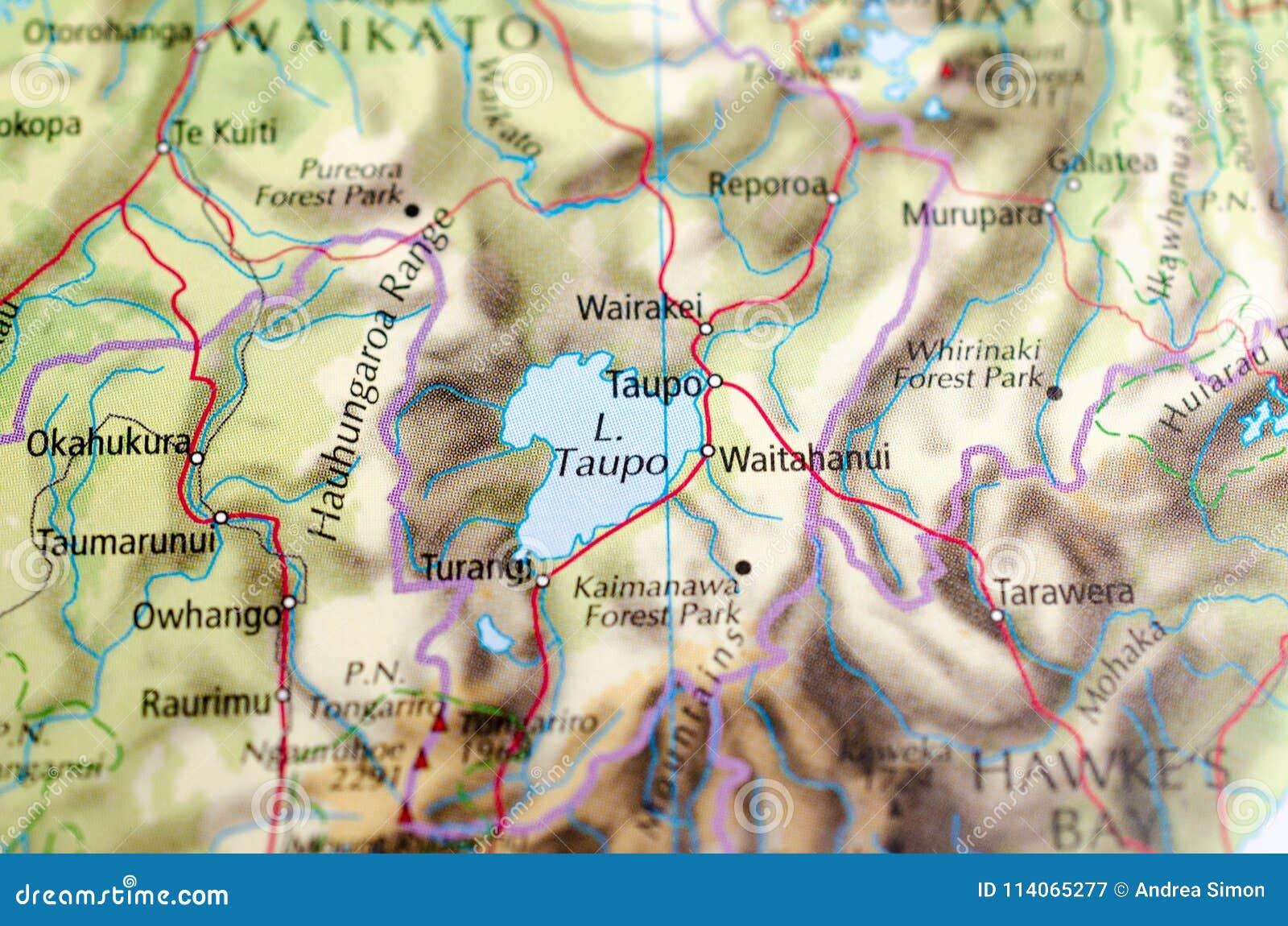 Taupo New Zealand Map.Lake Taupo On Map Stock Image Image Of Satelite City 114065277