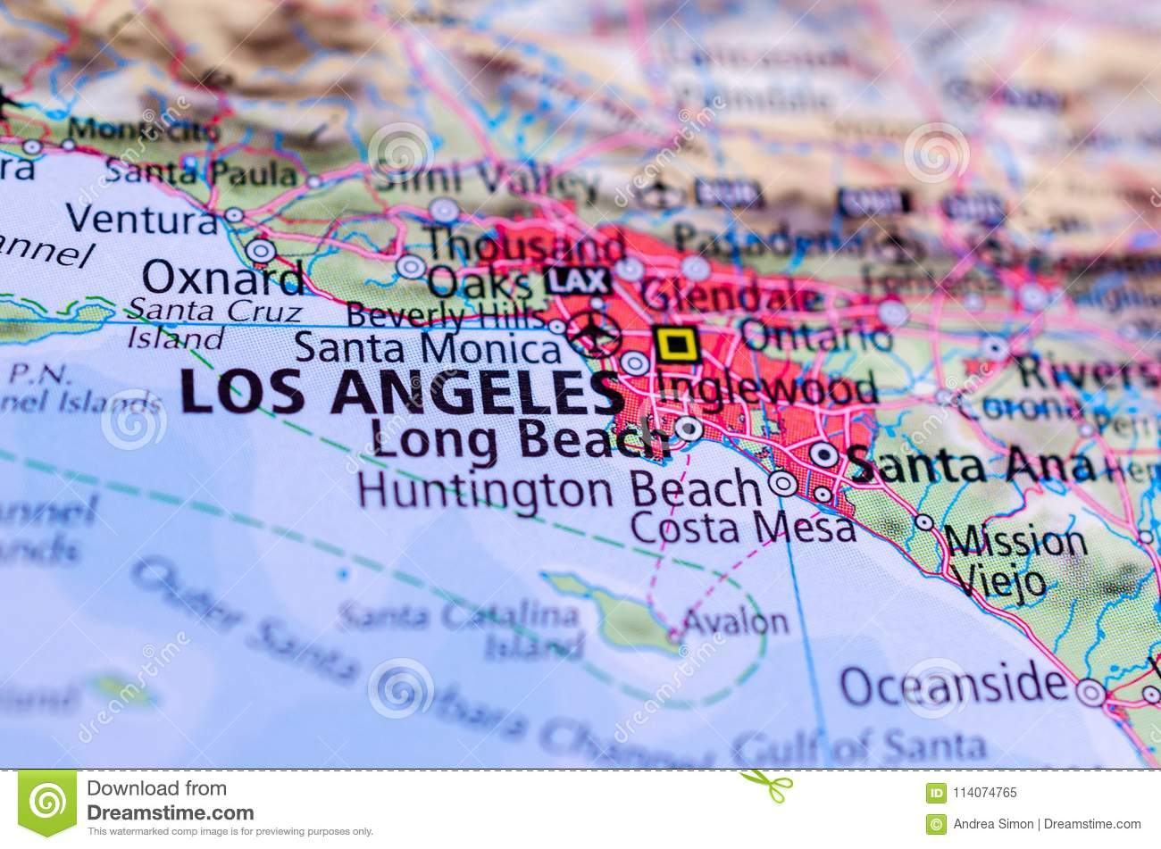 Los Angeles On Map Stock Image Image Of Maps Journey 114074765