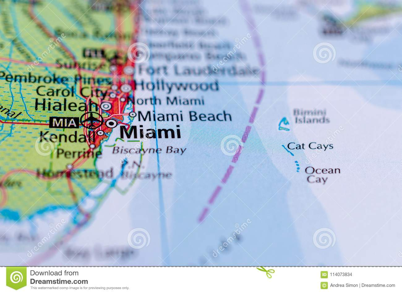South Florida Map By City.Miami On Map Stock Photo Image Of Paper Journey Region 114073834