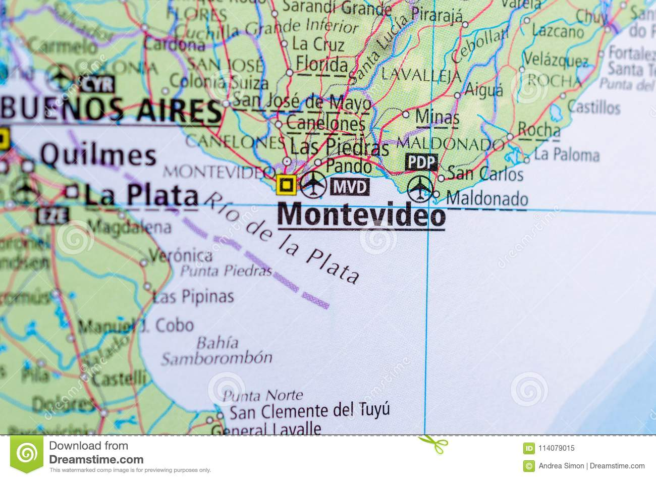 Image of: Montevideo On Map Stock Image Image Of State Paper 114079015