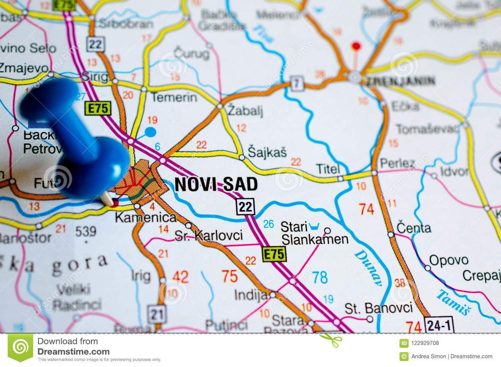 Novi Sad On Map Stock Photo Image Of Cartography Atlas 122929708
