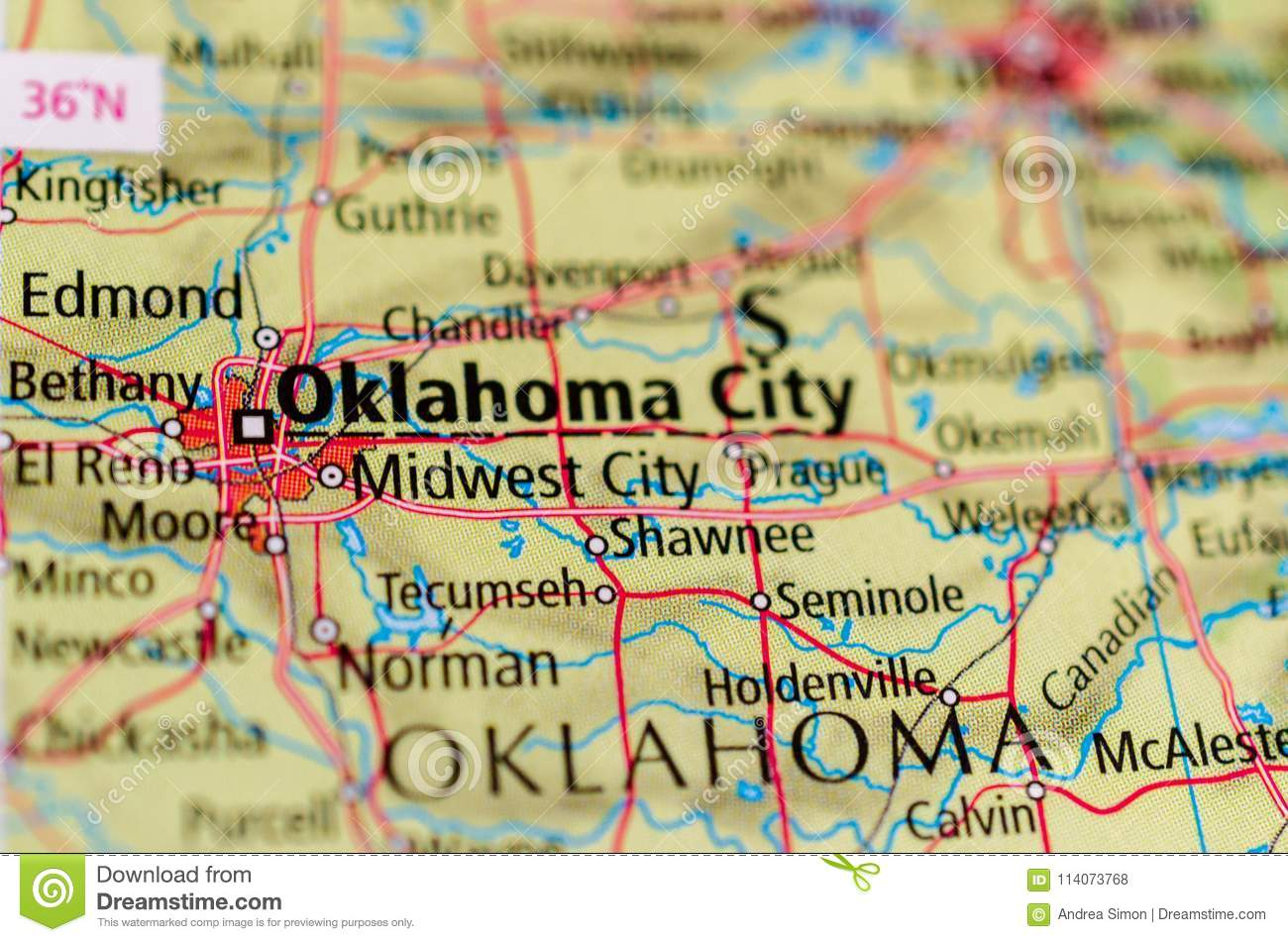 Oklahoma City on map stock photo. Image of coordinates - 114073768