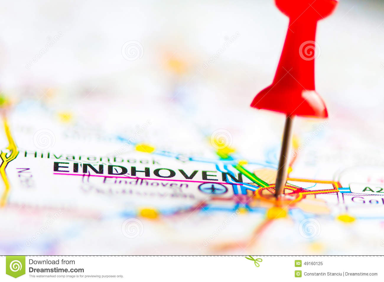 Close-up Shot Over Eindhoven City On Map, Netherlands Stock Image ...