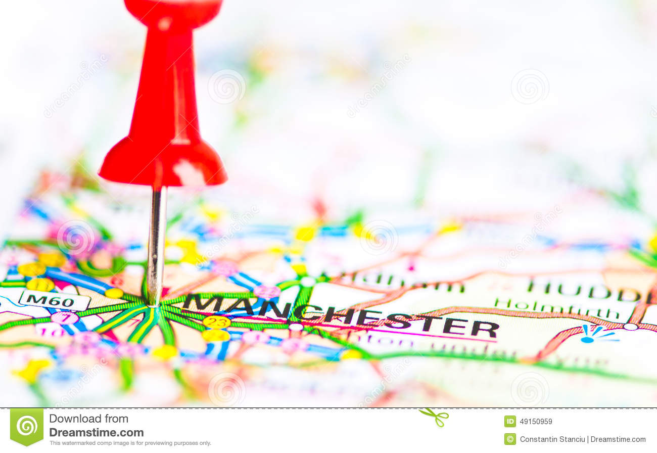 Close-up Shot Over Manchester City On Map, United Kingdom Stock ...