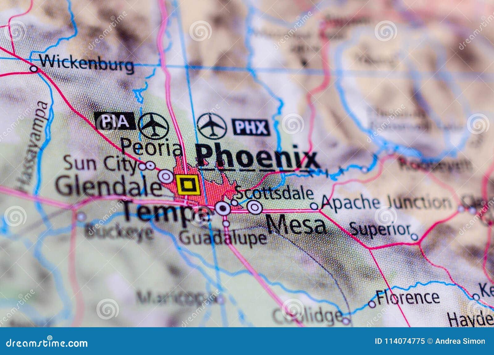 Phoenix, Arizona on map
