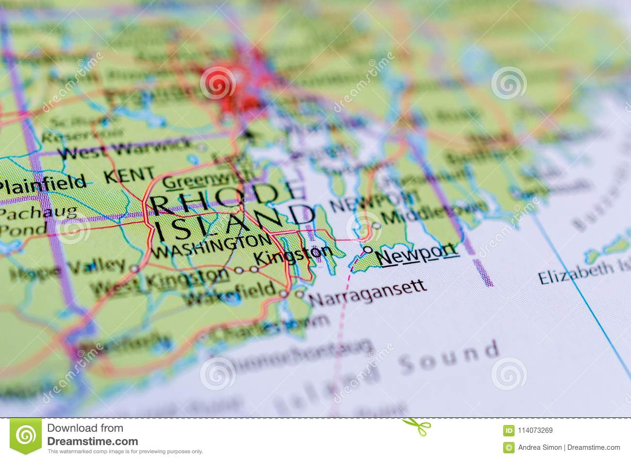 Rhode Island on map stock image. Image of cities, america - 114073269