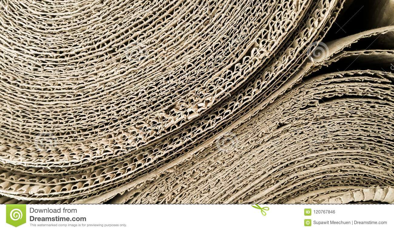 Close Up Of Roll Corrugated Packing Material Or Cardboard