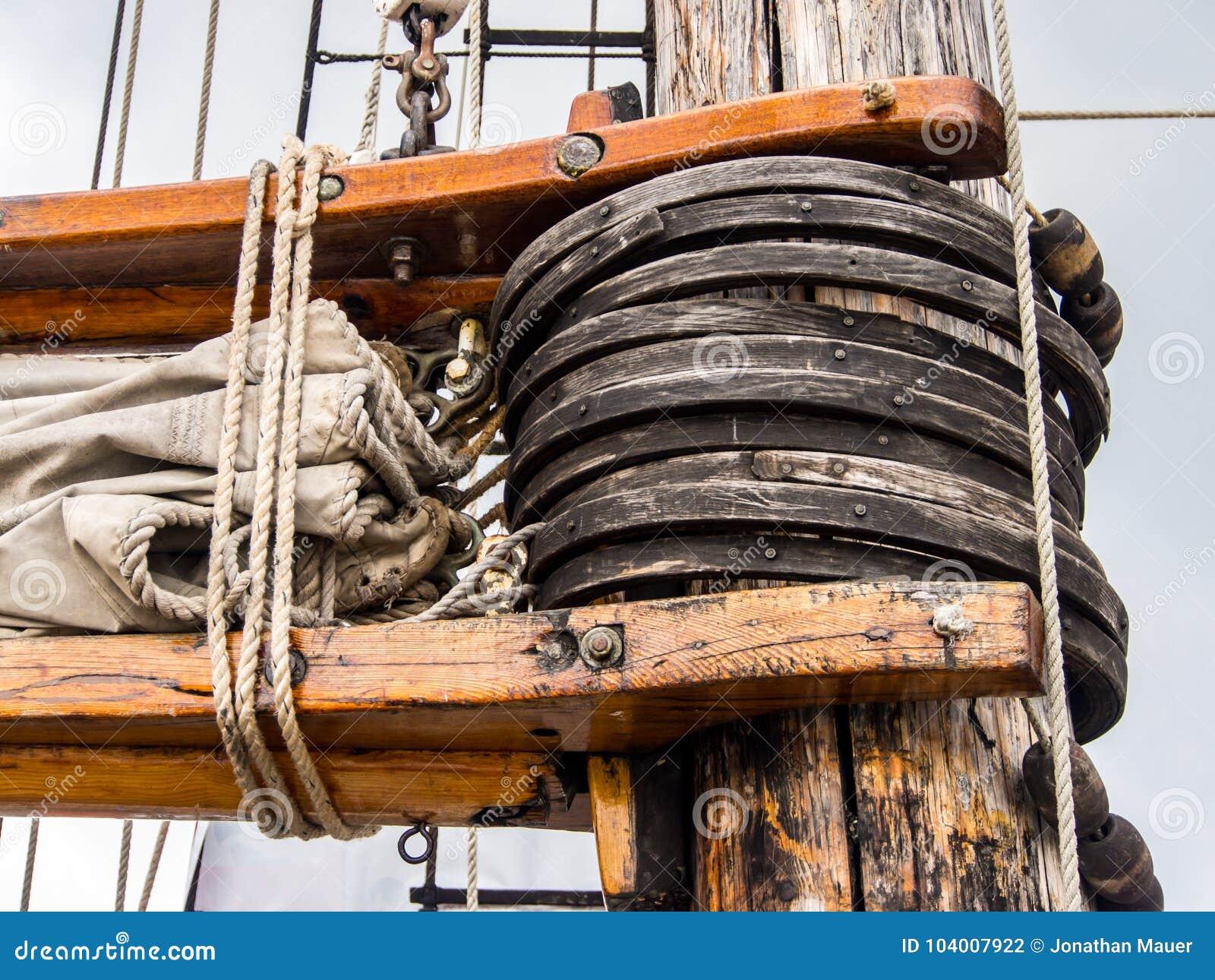Close Up Detail Of Sail Rigging, Old Ship Mast Stock Photo - Image
