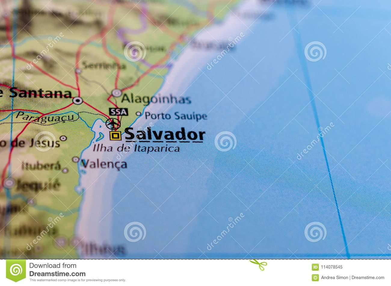 salvador bahia brazil map Salvador Bahia On Map Stock Image Image Of Explore 114078545 salvador bahia brazil map