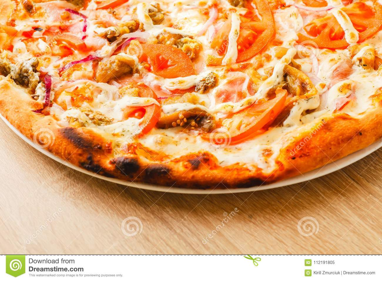 Download Pizza Close Up On A Wooden Table Stock Image   Image Of Italian,  Restaurant