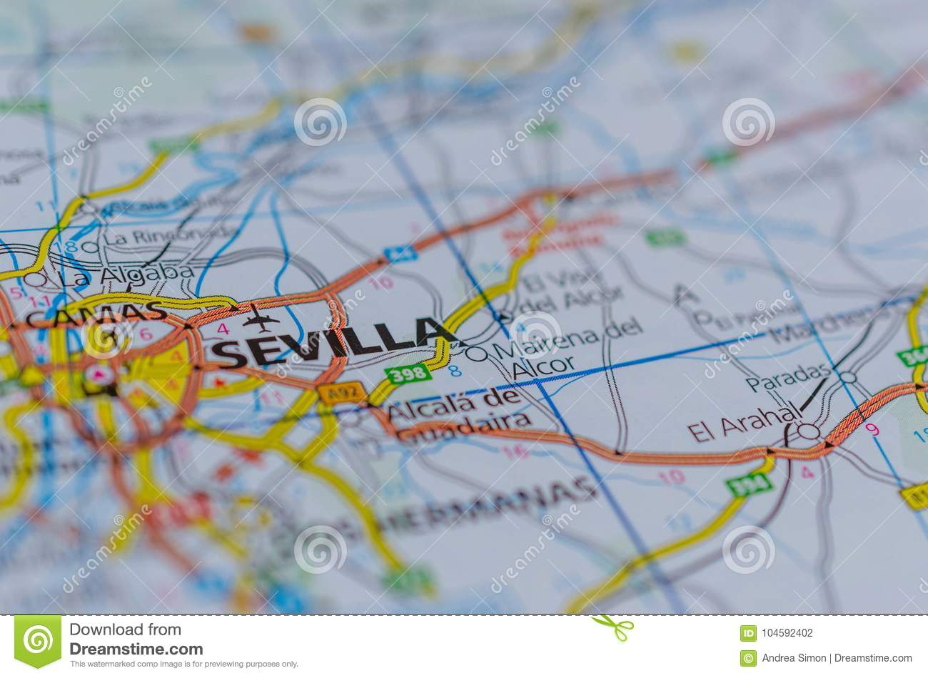 Sevilla on map stock photo Image of euro financial 104592402
