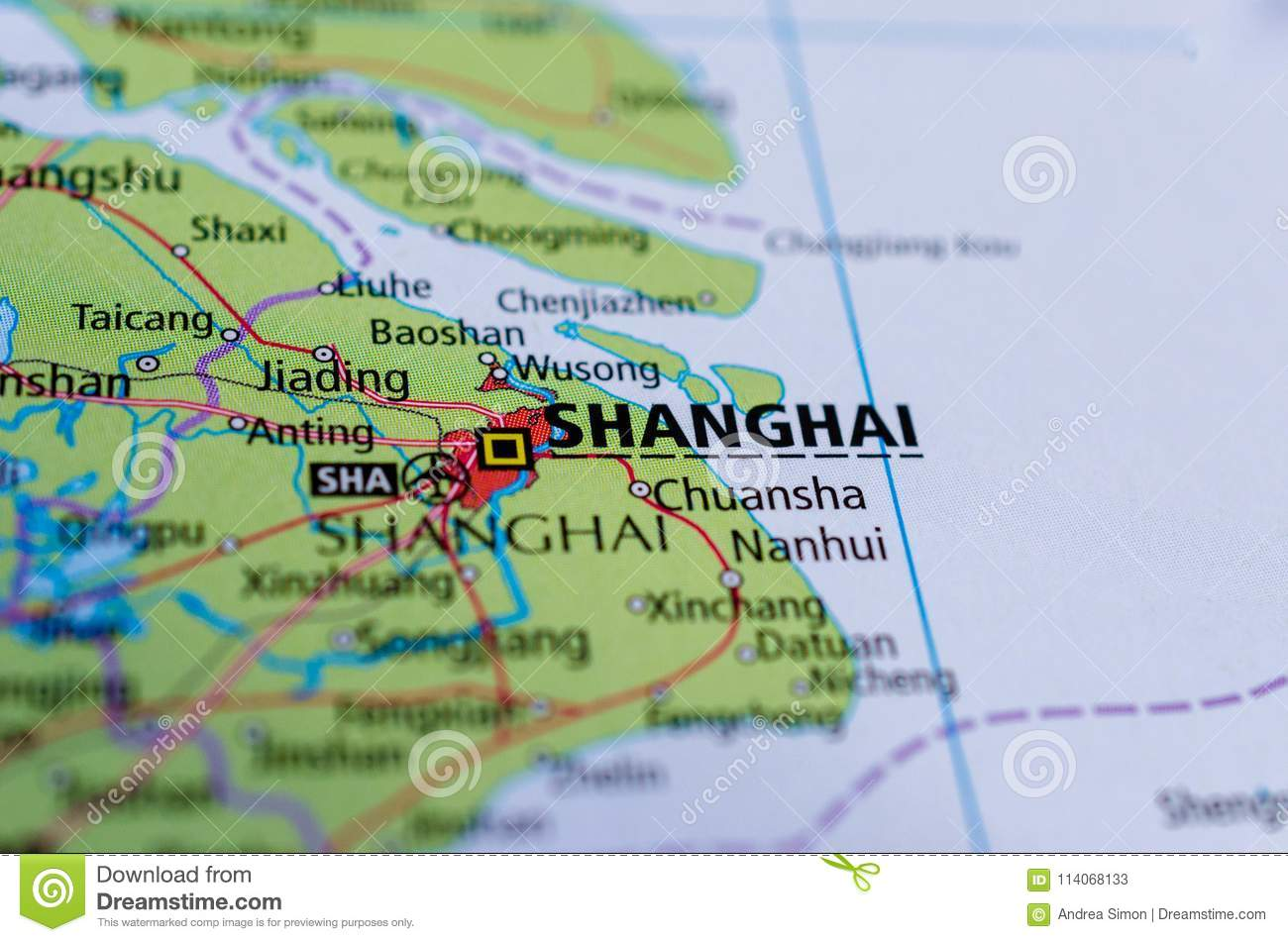 Shanghai On Map Stock Image Image Of Airport Road 114068133