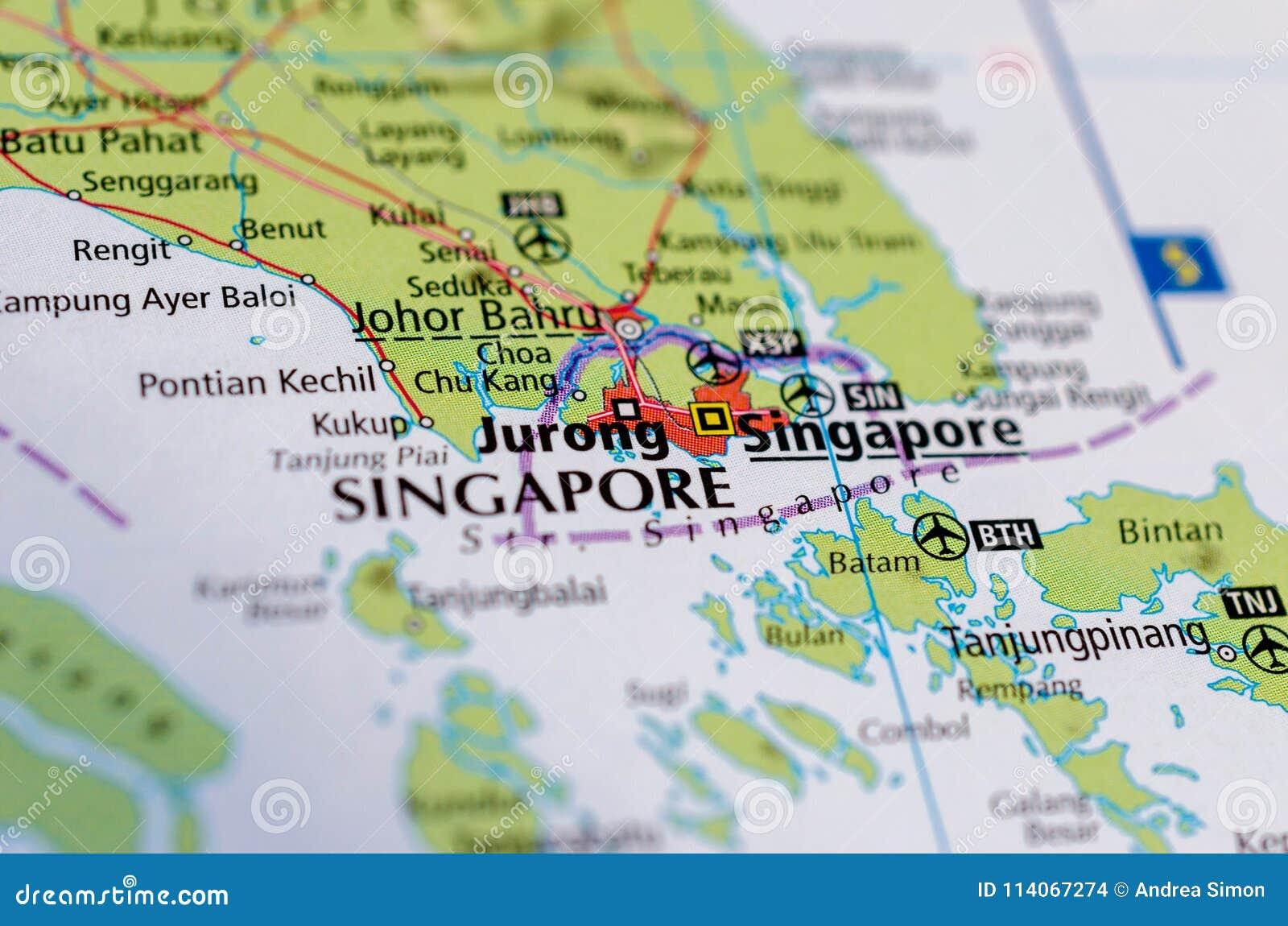 Map Of Asia Showing Singapore.Singapore On Map Stock Photo Image Of Citystate Singapore 114067274