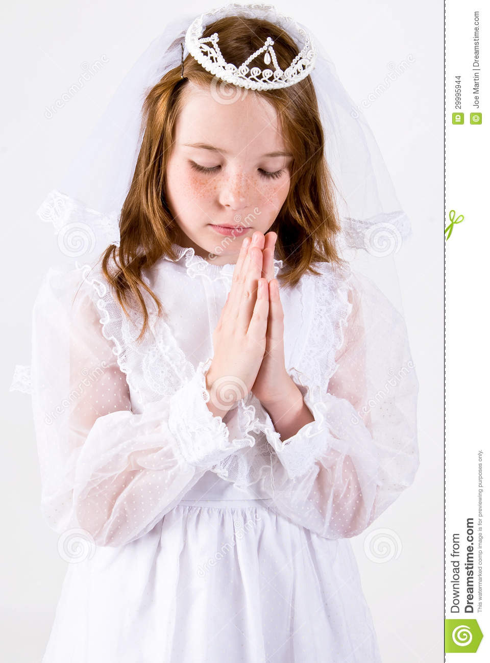 Young Girl Praying In First Communion Attire Stock Photo Image Of