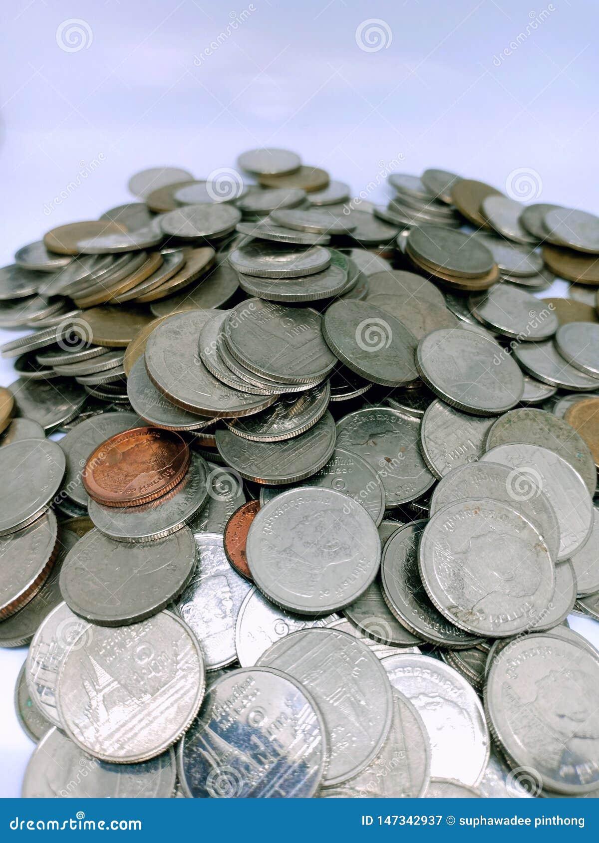 Close up shot of thai bath, coins money of thailand