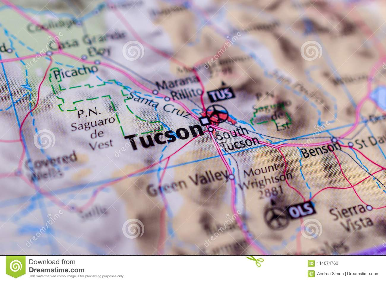 Tucson, Arizona on map
