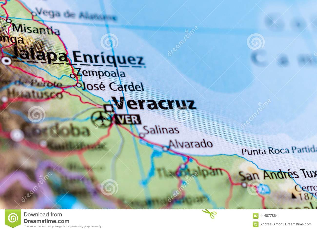 Veracruz On Map Stock Photo Image Of Paper City Cartography