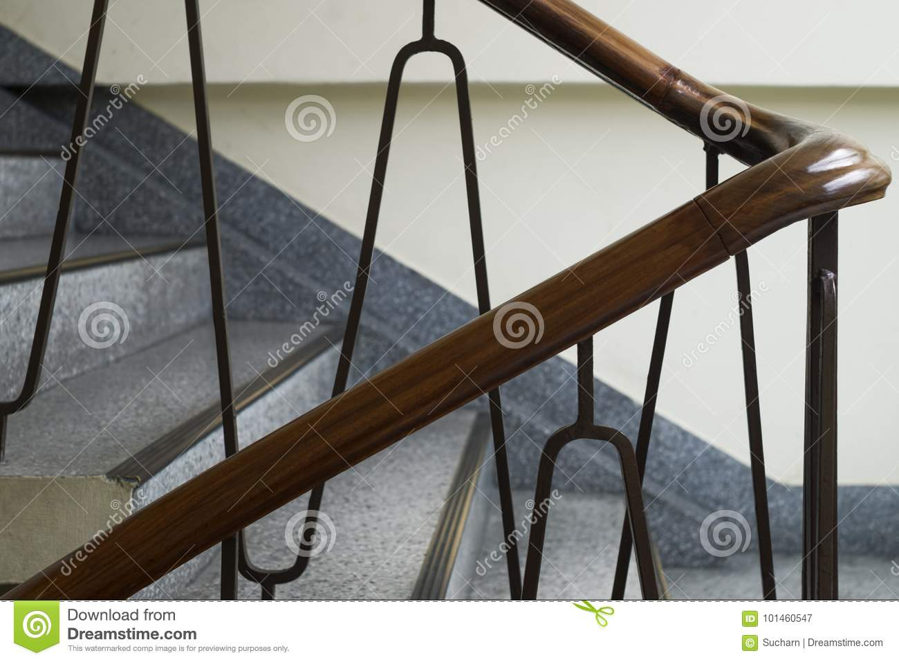 Close Up Shot Of Vintage Staircase In Minimal Style. Wooden Railing.