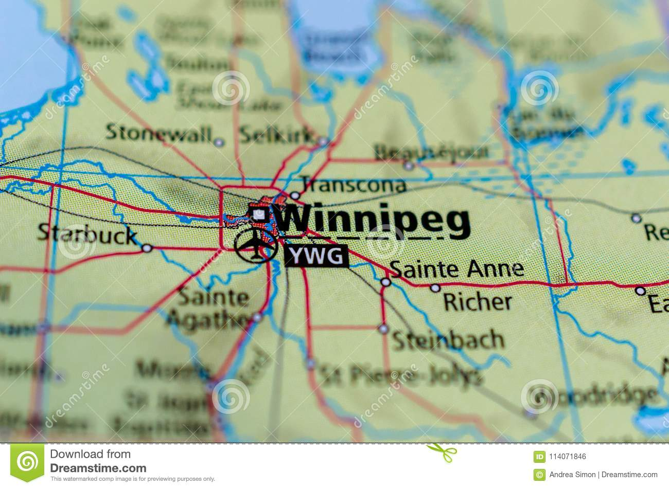 Winnipeg On Map Of Canada.Winnipeg On Map Stock Photo Image Of Populous Continent 114071846