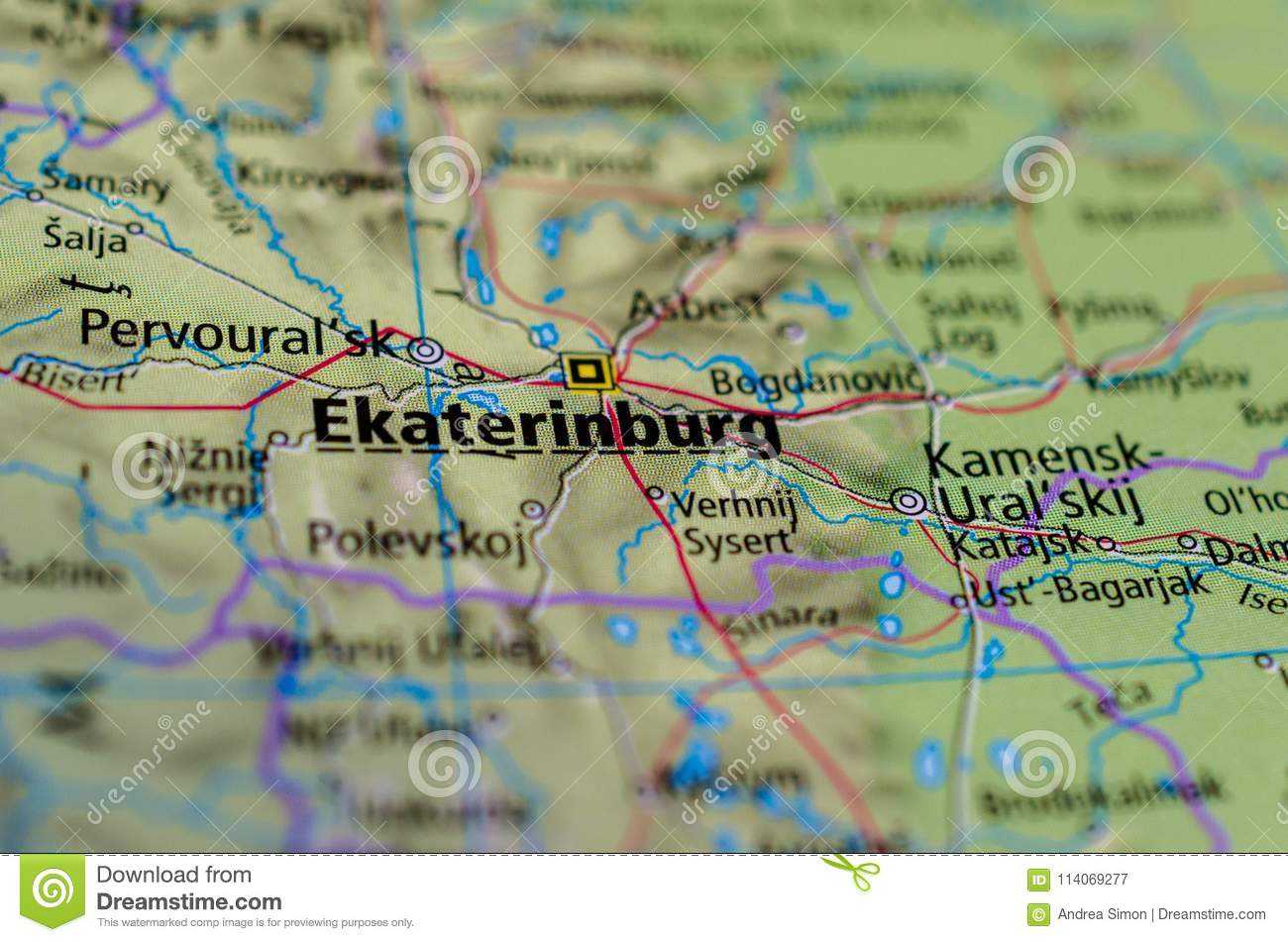 Yekaterinburg On Map Stock Image Image Of Russia Continent 114069277
