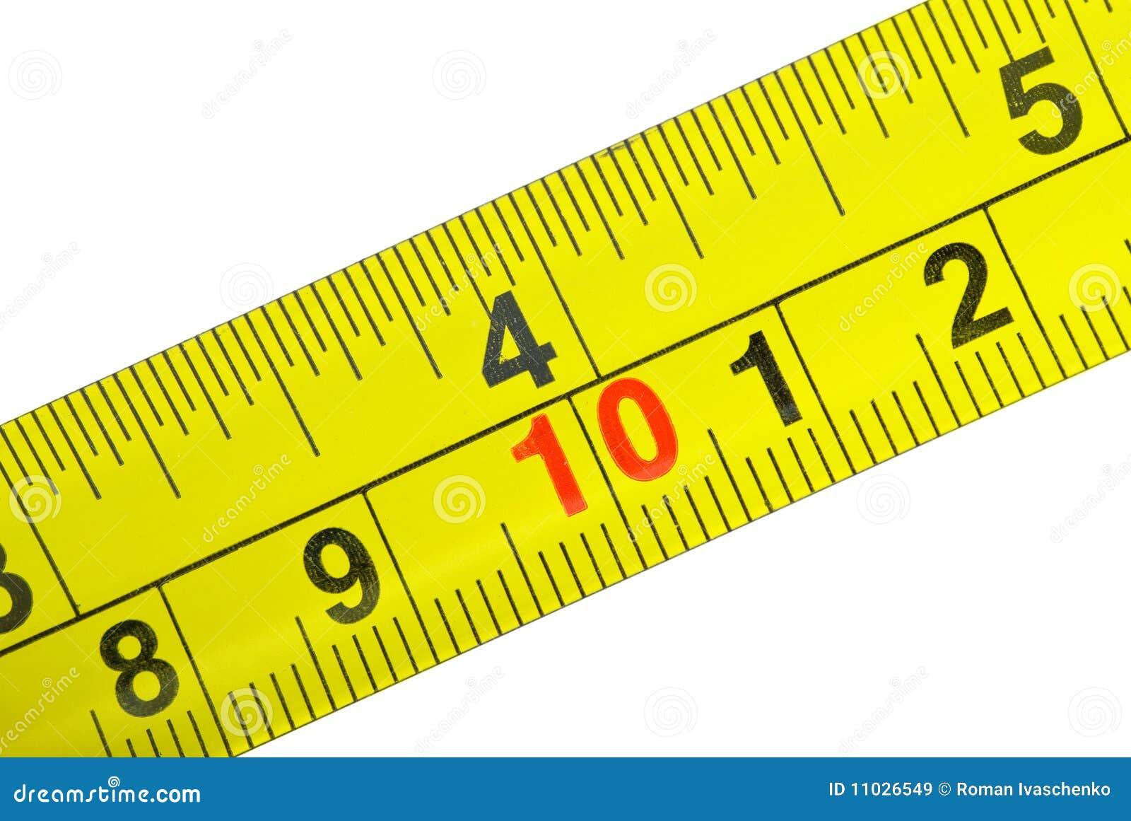 Close-up shot of yellow metal measurement tape