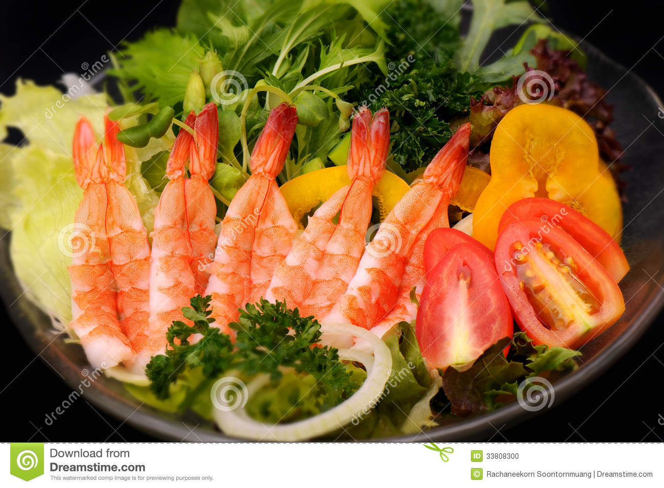 Close up shrimp and mix vegetables for salad, Japanese cuisine.