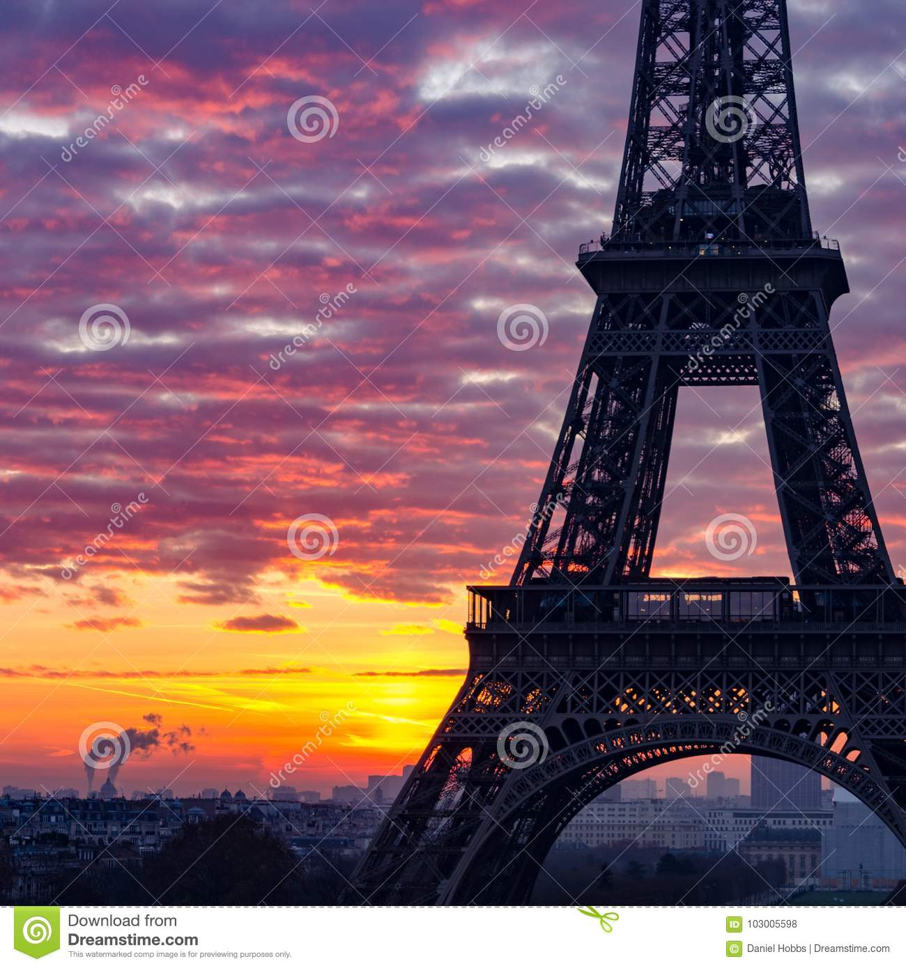 Close Up Silhouette Of The Eiffel Tower Paris During Sunrise Stock Photo Image Of Dawn Closeup 103005598