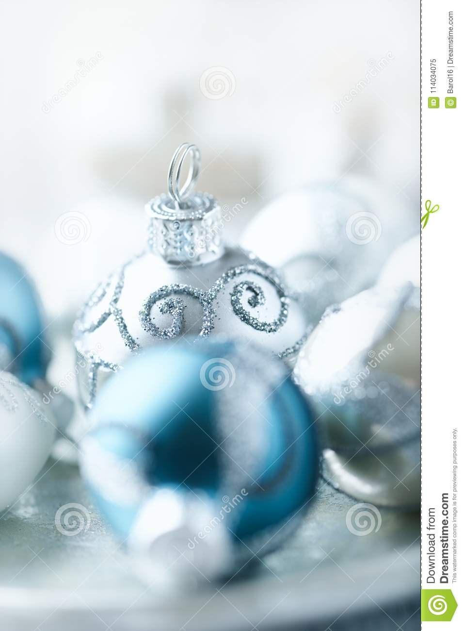 Close up of silver and blue christmas balls