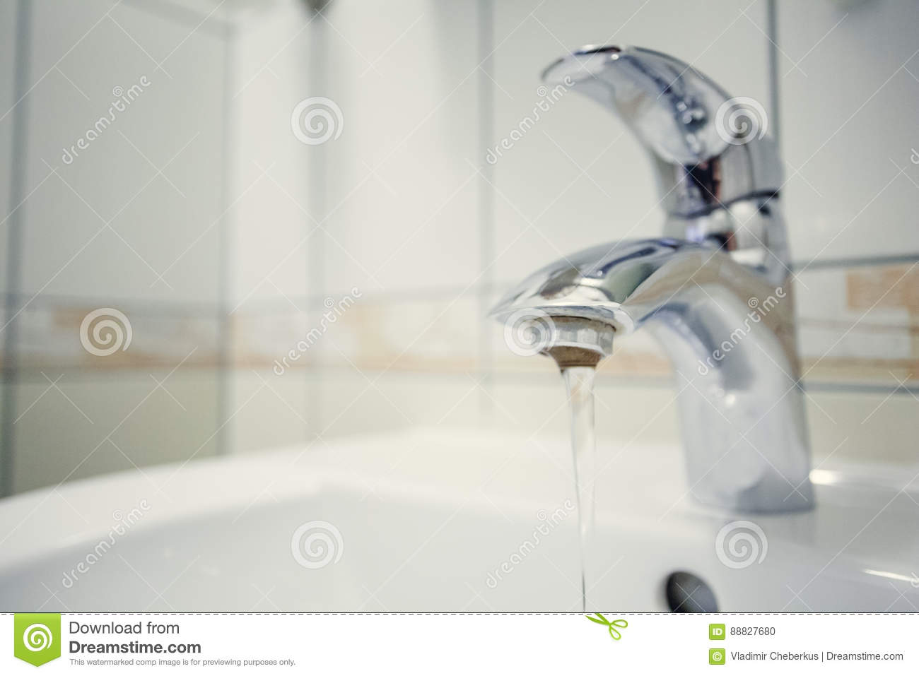 Close Up Of Silver Faucet In Toilet. Modern Bathroom Stock Photo ...