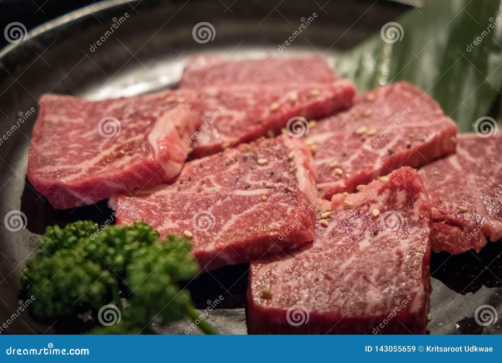 Close up of slice freshness marbled of Japanese Kobe Matsusaka beef