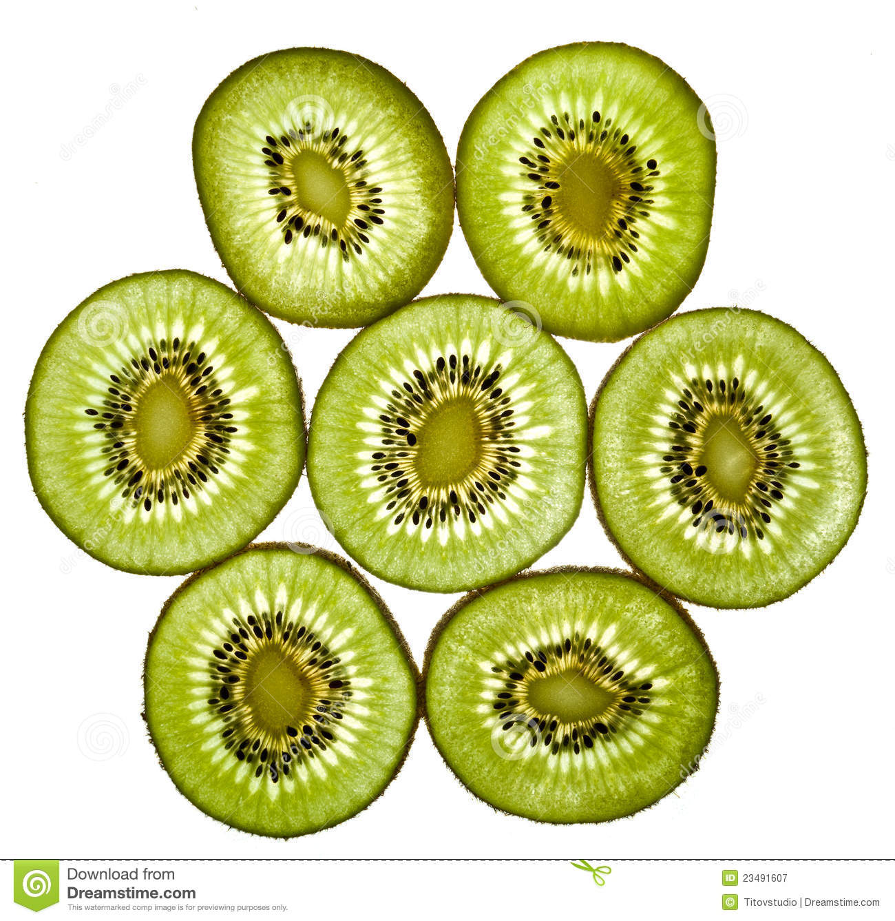 Close up of sliced pieces of kiwifruit