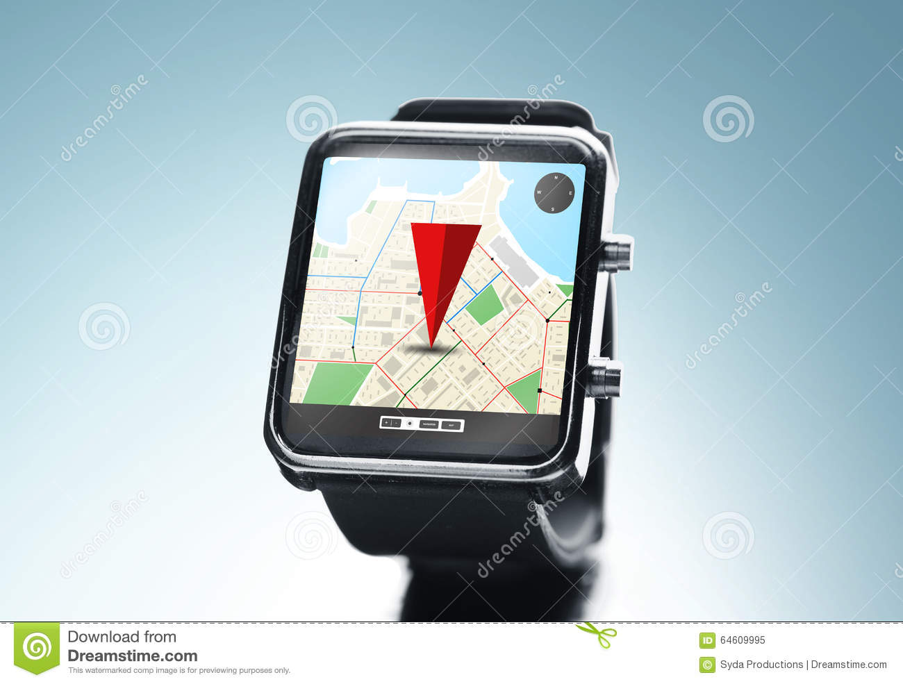 Close Up Of Smart Watch With Gps Navigation App Stock Image